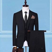Dressv, 3 предмета, черные обычные брюки, костюм на одной пуговице для свадебной вечеринки, официальный пиджак, брюки, брюки, мужские костюмы
