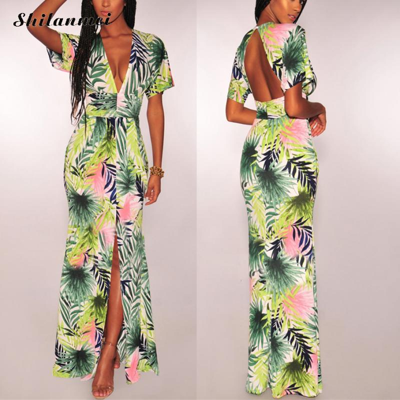 Tropical Printing Long <font><b>Dress</b></font> Women 2019 Fashion <font><b>Deep</b></font> <font><b>V</b></font> Neck Backless Summer Beach <font><b>Dress</b></font> Front Slit <font><b>Sexy</b></font> Holiday Party <font><b>Dresses</b></font> image