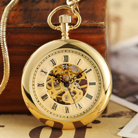 Vintage Smooth Mechanical Pocket Watch Men Women Hand Winding Pocket Watch Gold Silver Stainless Steel Fob Clock Chain Pendant