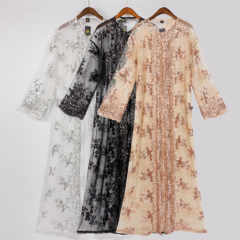 Floral Sequin Abaya Kimono Cardigan Hijab Muslim Dress Turkish Islamic Clothing Abayas For Women Dubai Kaftan Robe Islam Caftan
