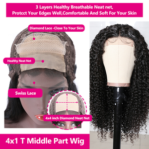 Image 5 - BeautyForever Malaysian Curly Hair Wig Lace Front Wigs 4x1 T Part Lace Human Hair Remy Wig Pre Plucked With Baby Hair