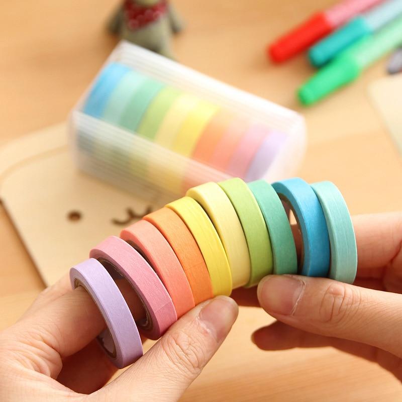 Free Shipping 10 Pcs/Set Rainbow Solid Color Masking Washi Sticky Paper Tape Adhesive Scrapbooking Deco Masking Washi Tape