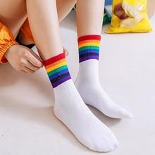 Rainbow Socks Woman Stripes Harajuku Cozy Cotton Socks Warm Winter Socks Women