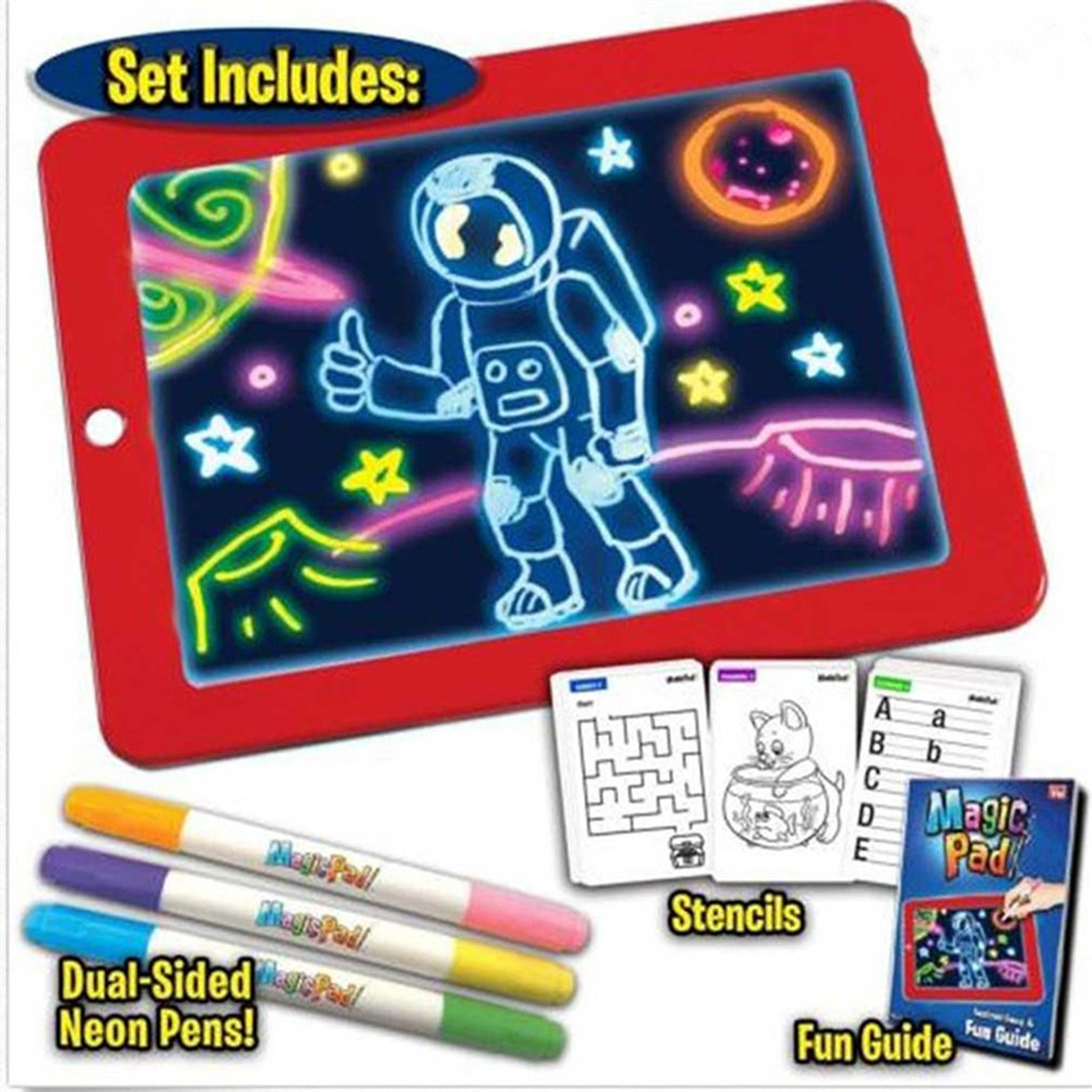 3D Magic Light Up Drawing Pad Children'S Drawing Board Puzzle Light Board Children'S Brain Development Toys Puzzle Board Drawing