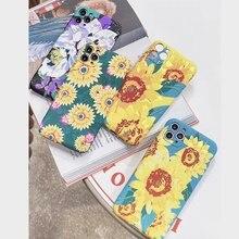 Luxo flores fosco tpu capa traseira para iphone 11 pro max xs x xr 7 8 plus se 2020 3d flor pattens macio caso