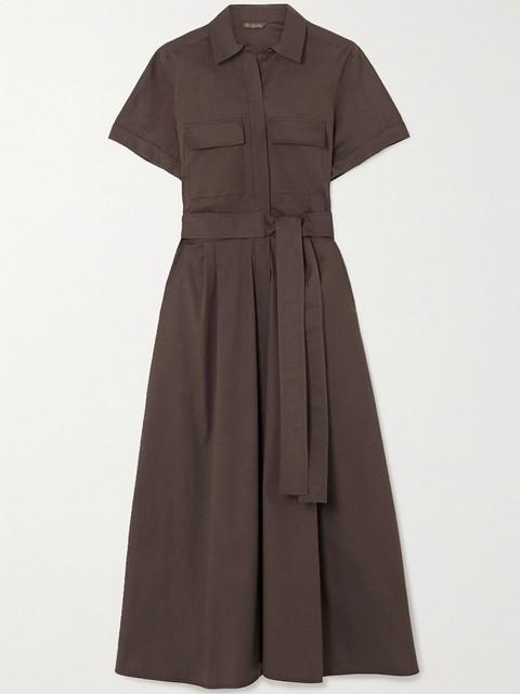 Safari Style Deep Coffee Dress  belted 4