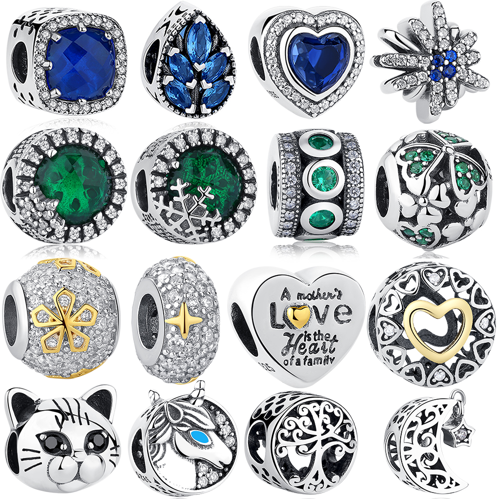 ELESHE 925 Sterling Silver Charms Love Heart Tree Cat Moon Lucky Clover Beads Fit Pandora Authentic Charm Bracelet DIY Jewelry(China)