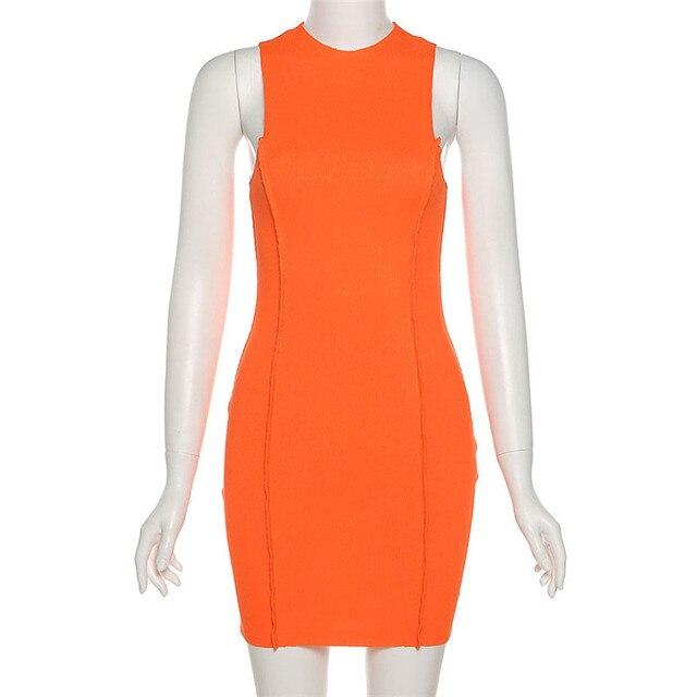 CNYISHE Sleeveless Casual Fashion Mini Dresses Skinny Summer O-neck Women Bodycon Neon Orange Dress Streetwear Vestidos Robes 6