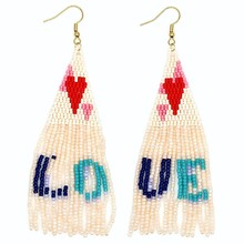 Go2boho MIYUKI Fringed Earrings For Women Love Letter 2019 Boho Pendientes Mujer Handmade Loom Beads Fashion Jewelry