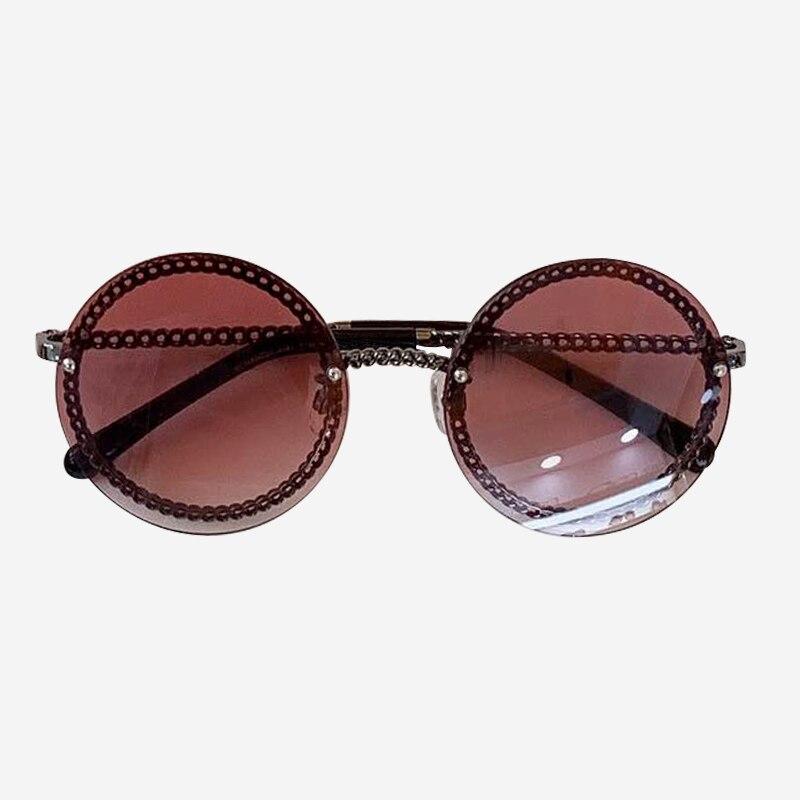 Cadeia rodada Óculos De Sol de Marca Designer de Alta Qualidade Shades Oculos de sol Feminino Da Forma Do Vintage com Caixa de Embalagem - 6