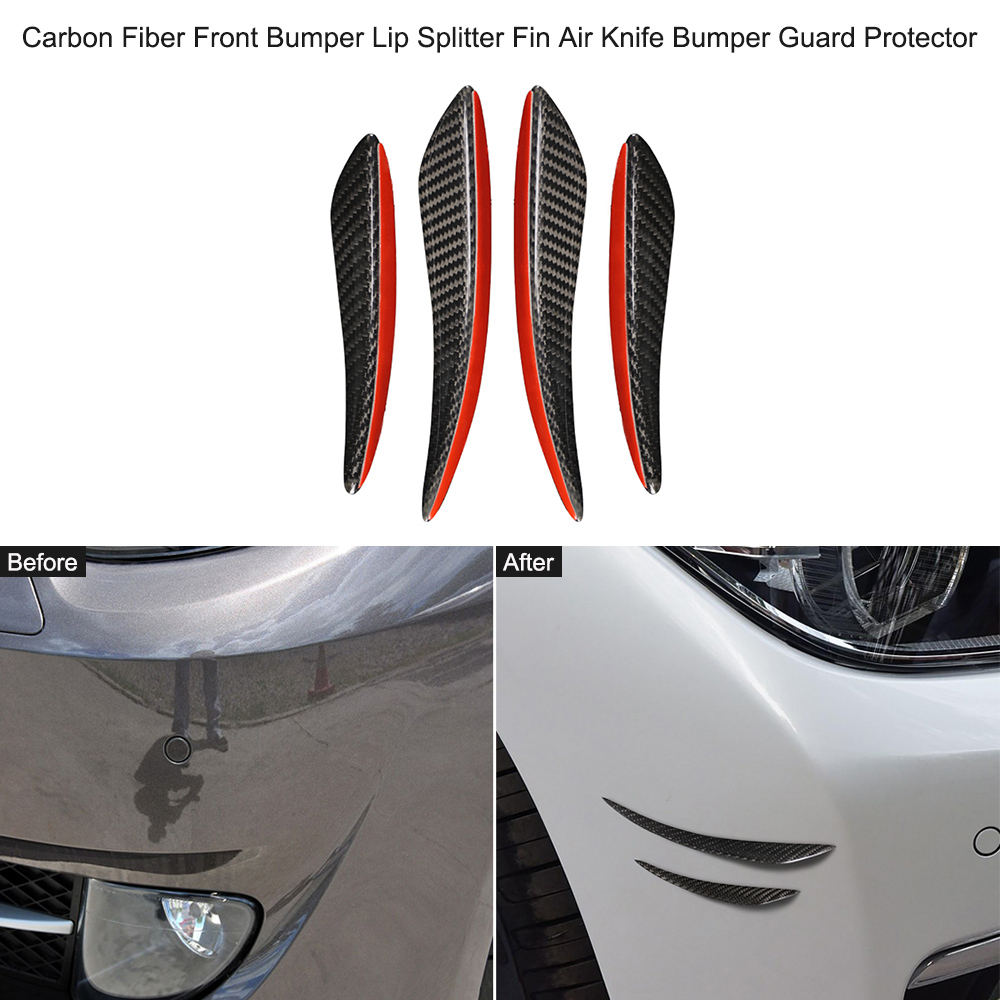 New 4Pcs/set Carbon Fiber Front <font><b>Bumper</b></font> Lip Splitter Fin Air Knife <font><b>Bumper</b></font> Guard Protector for <font><b>BMW</b></font> E60 E90 F30 <font><b>F10</b></font> E70 F15 E84 F20 image