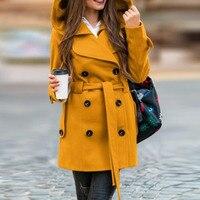 Office Ladies Fashion Yellow Hooded Coat Women Plus Size Slim Woolen Belted Women Autumn Winter Wool Blend Pea Coats Overcoat