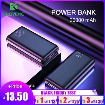 FLOVEME Power Bank 20000mAh Portable Charging Poverbank Mobile Phone External Battery Charger Powerbank 20000 mAh for Xiaomi Mi