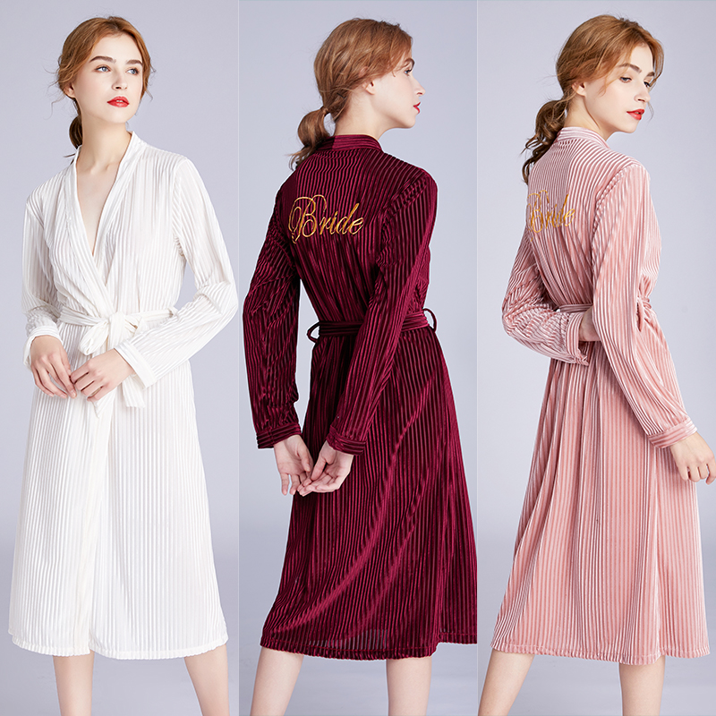 New womens velvet robe wedding dress embroidery Bride cardigan bride red morning nightgowns