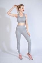 Women yoga set gray blue stripes Seamless Leggings and Sports Bra Tummy Control Yoga Leggings High Waist Booty Leggings Gym