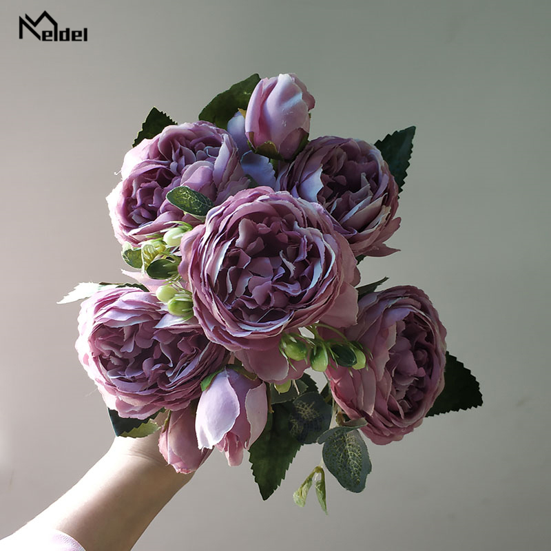 Meldel Fake Peony Bouquet Flower Artificial Silk 5 Heads Peony DIY Bride Bouquet Flower Arrangement Red Home Party Wedding Decor