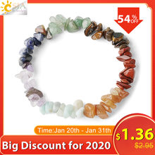 CSJA Reiki Natural Stone 7 Chakra Bracelets Chipped Gravel Beads Healing Bracelet Bangle for Women Girl Gift 2020 Pulseras G295(China)