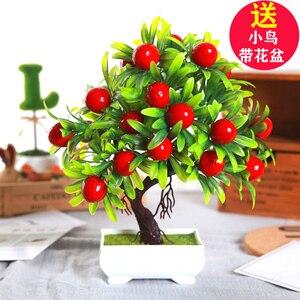 1 шт., фруктовый бонсай, имитация декоративных цветов и венок с искусственными цветами, Искусственный Зеленый горшок, растения, домашний дек...