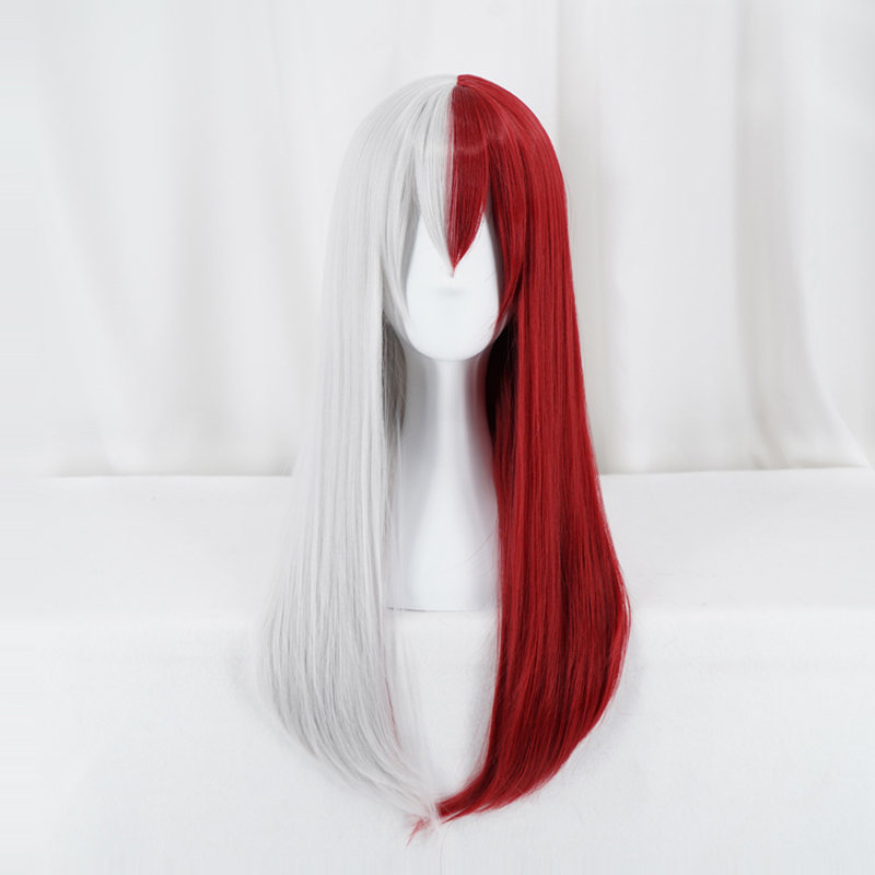 Anime My Hero Academia Todoroki Shoto Women Long Wig Cosplay Costume Boku No Hero Academia Red And White Hair Halloween Party