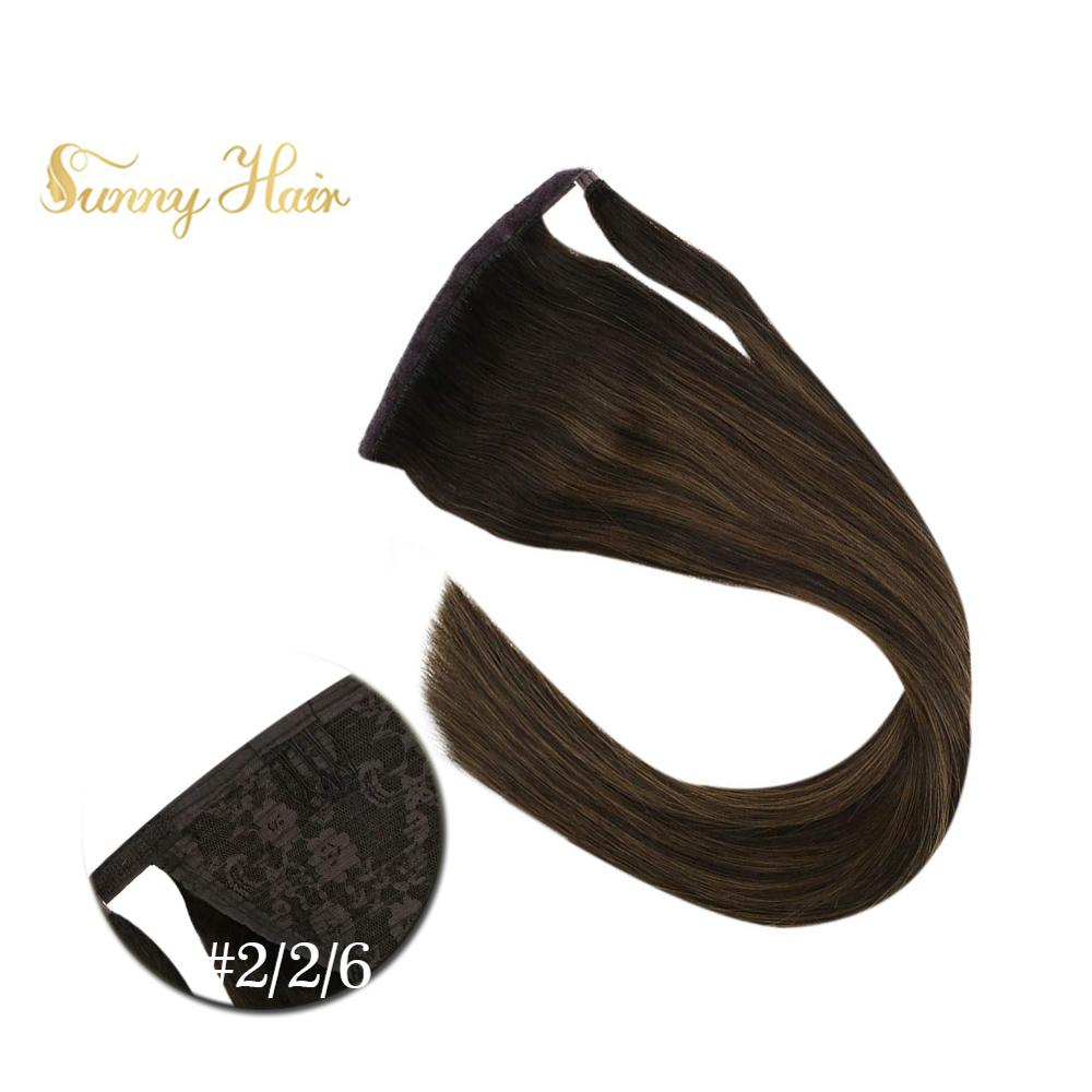 VeSunny Ponytail Extensions Wrap Around Magic Tape 100% Human Hair Balayage Brown #2/2/6