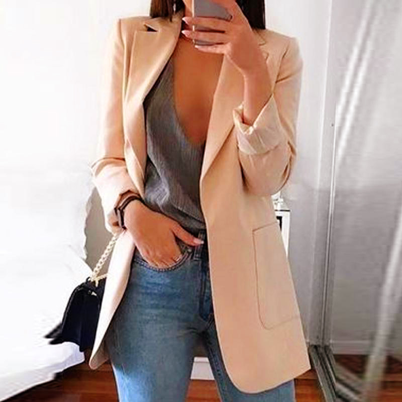 Autumn Khaki Notched Women's Blazer Jacket Single Breasted Formal Black Work Female Blazers 2019 Pockets Office Lady Jackets