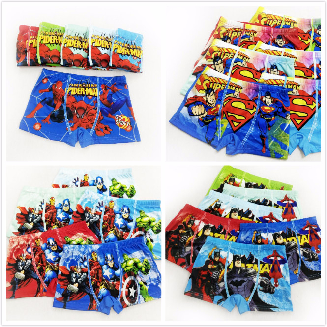 4pcs/lot Boys Underwear Boxers Briefs Underpants Super Hero Spiderman Cartoon Car Kids Panties Panty Briefs Infant Teenagers