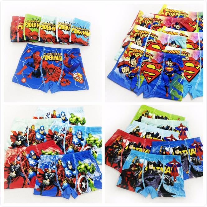 4pcs/lot Boys Underwear Boxers Briefs Underpants Super Hero Spiderman Cartoon Car Kids Panties Panty Briefs Infant Teenagers