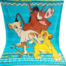 Disney Cartoon turkusowy niebieski król lew Simba Nala pluszowy koc rzut zimowy ciepły śpiwór na łóżku narzuta 150x200cm tanie tanio 100 poliester Anty-pilling Wiosna jesień Koral polar tkanina Klasa a T20200321-1 Drukowane Europa Dzianiny Rectangle Samolot