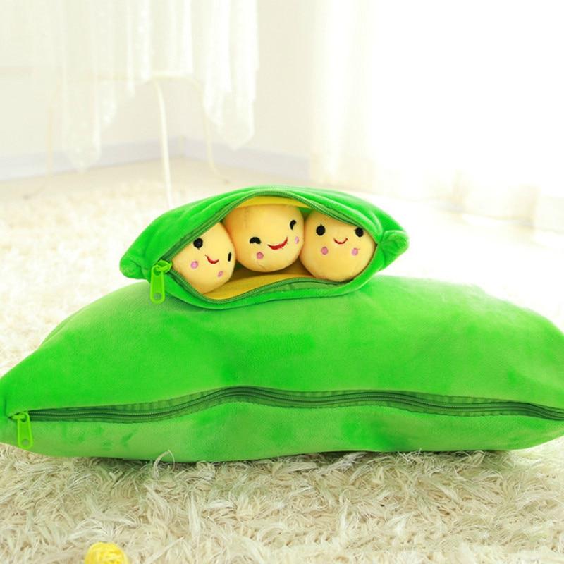 25cm Soft Children Gift Stuffed Plants Peas Pillows Pod-shaped Doll Plush Toy