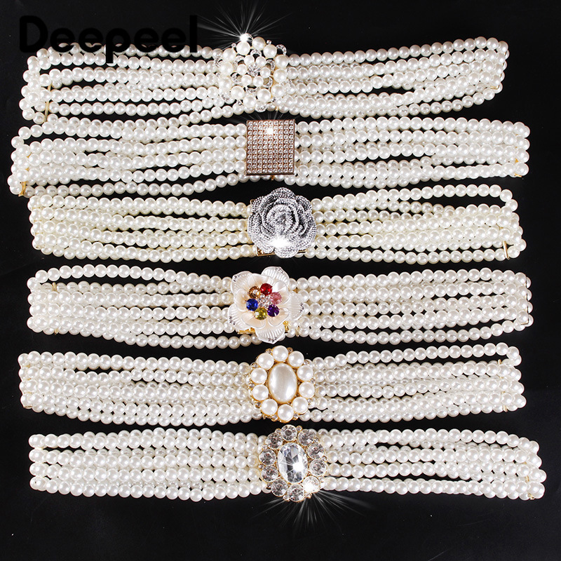 Deepeel 1pc 3cm*65-80cm Ladies Pearl Diamond Cummerbunds Simple And Wild Adjustable Girdle Flower Decorative For Dress CB627