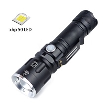 High Power XHP50 LED Flashlight with Clip Design Zoomable Torch USB Rechargeable for Hunting Camping Outdoor Activities