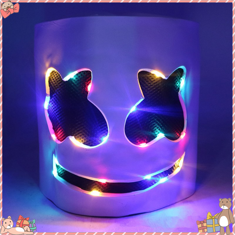 DJ Glowing Headgear Mask Full Head Helmet Halloween Cosplay Mask Bar Music Marshmallow Glowing Toy Party Headgear