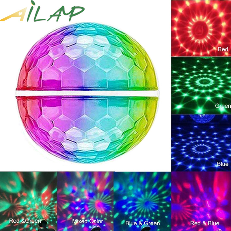 USB DC 5V Double Head Disco Ball Stage Light Music Control Android Apple Phone Colorful Dj Light Christmas Party Light Kids Gift