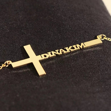 Customized Name Necklace Collier Personalized Cross Pendant Initial Nameplate Custom Jewelry accessories Birthday Gifts
