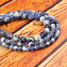 New Blue Natural Stone Bead Round Loose Spaced Beads 15 Inch Strand 4/6/8/10/12mm For Jewelry Making DIY Bracelet