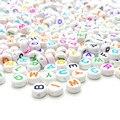 100 шт 4*7 мм Круглые разноцветные акриловые бусины с буквенным принтом для изготовления ювелирных изделий для детей Diy Материал свободные бус...