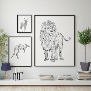 Modular Print Pictures Wall Art Abstract Geometric Camel Kangaroo Canvas Nordic Style Poster Painting For Living Room Home Decor(China)