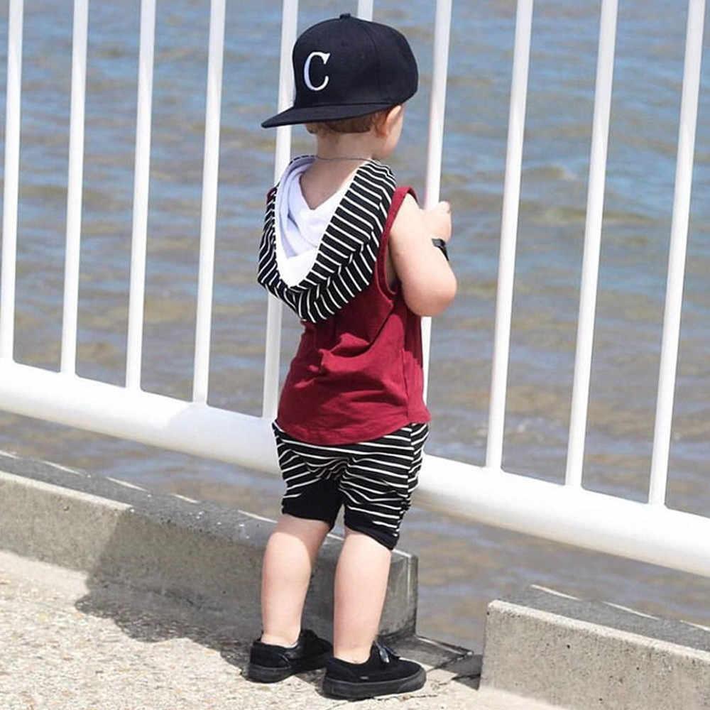 Yürümeye başlayan çocuk Sprited giyim seti erkek bebek kapşonlu yelek üstleri + şort pantolon 2 adet kıyafetler giysi Set erkek yaz sıcak satış giyim