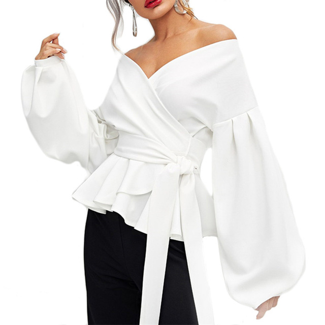 Fashion Women Long Sleeve BlouseCasual  Up Shirts Elegant Asymmetric Tops Sexy strapless lantern sleeve top bow  waist shirt 5