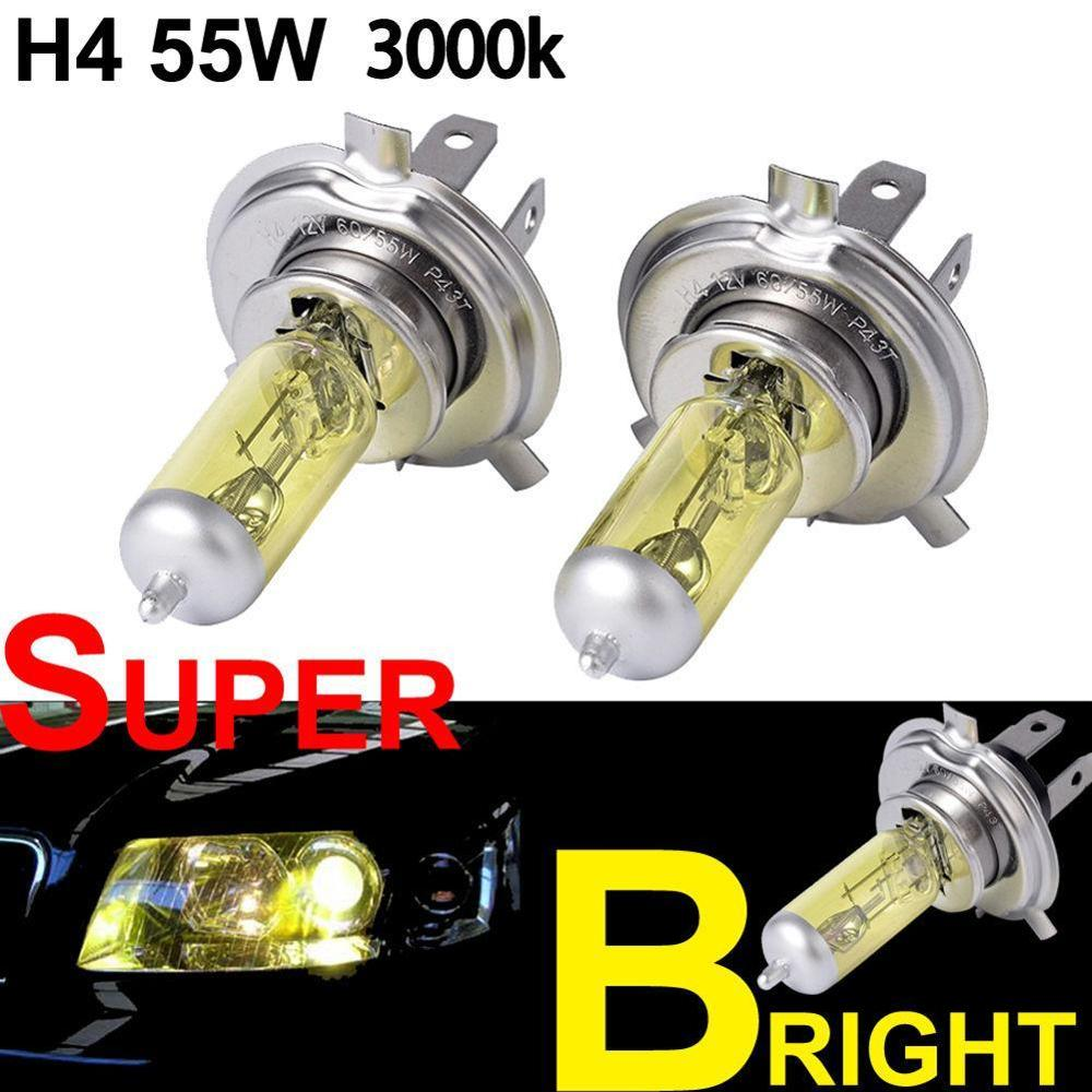 High Quality NEW 2PCS <font><b>H4</b></font> 12V <font><b>60</b></font>/<font><b>55W</b></font> Yellow Halogen Bulb 3000K Xenon Bright Glass Stainless Steel Base Auto <font><b>Lamp</b></font> Car Fog Light image