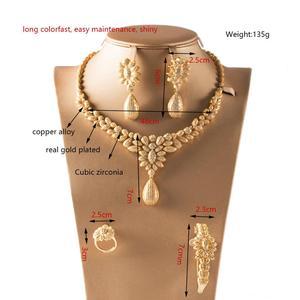 Image 2 - Dazz Luxury Colorful Zircon Round Pendant Necklace Earrings Ring Bangle Nigeria Wedding Jewelry Set Bridal Women Dubai Jewellery