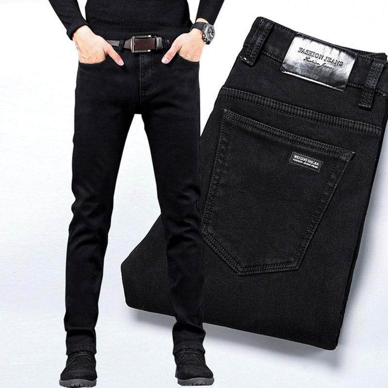 Fashion Classical Men Jeans Black Color Elastic Casual Business Pants Vintage Designer Wild Simple Slim Jeans Men Pencil Pants