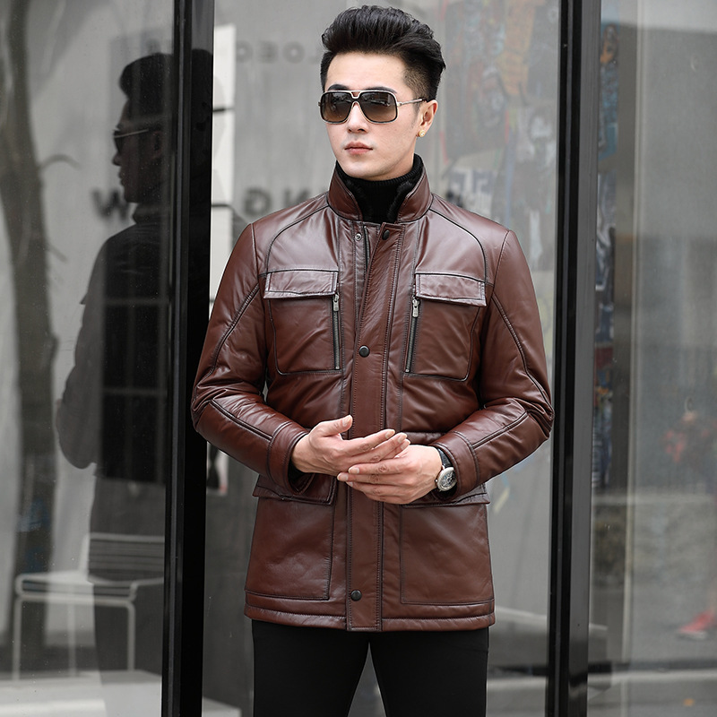 Genuine Cow Leather Duck Down Winter Coat Men Real Mink Fur Collar Jacket For Mens Clothes 2020 SY51N YY913