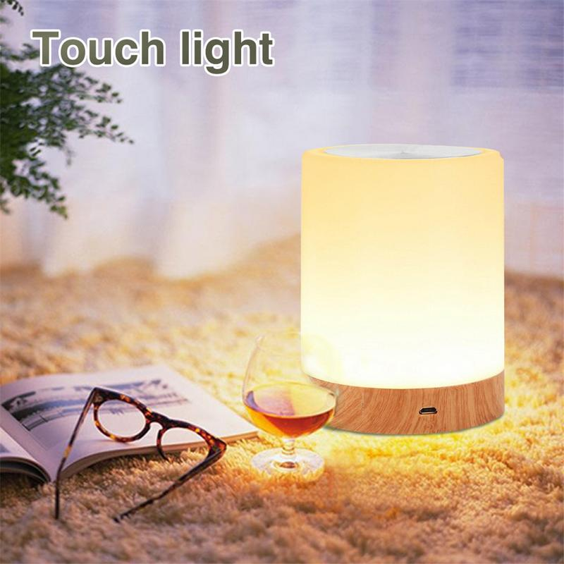 Led Touch Night Light USB Rechargeble Wood Grain Table Bedside Nursing Lamp 6Colors Light Adjustable Baby Sleep Room Night Lamp