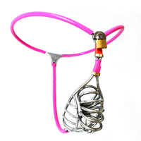 Male Chastity Belt Pants New Design Stainless Steel Chastity Cock Cage BDSM Fetish Metal Penis Ring Lock Device Sex Toys Men