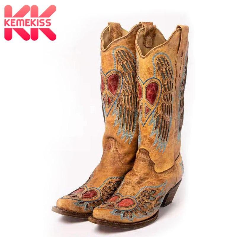 KemeKiss Women Fashion Autumn Winter Pull On Mid Calf Boots