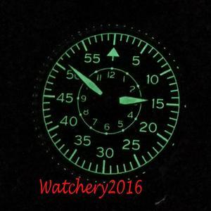 Image 2 - 42mm Corgeut Black dial Leather sapphire glass Luminous marks Militär Automatic Mechanical mens Watch