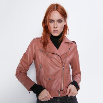 Za 2019 chaqueta de cuero de imitación negro abrigo de mujer Otoño Invierno ropa de moda largo Sleeeve cremallera chaquetas abrigos de Color puro
