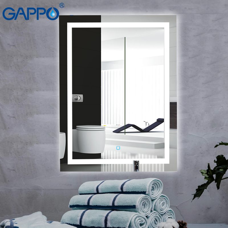 Gappo Bath Mirrors Led Cosmetic Mirror Wall Mounted Lights Bathroom Makeup Mirrors Rectangle Touch Switch Light Adjustable
