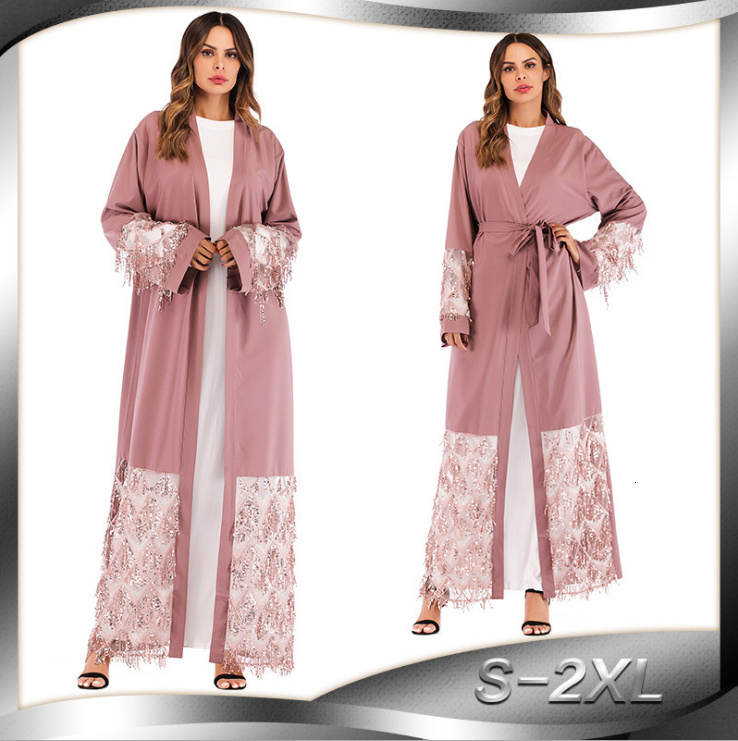 Muslim Sequins Mesh Nida Abaya Maxi Dress Cardigan Long Robe Gowns Jubah Kimono Ramadan Arab Islamic Kaftan Worship Service